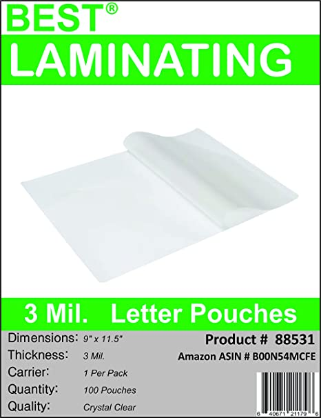 Amazon.com : Best Laminating - 3 Mil Clear Letter Size Thermal ...