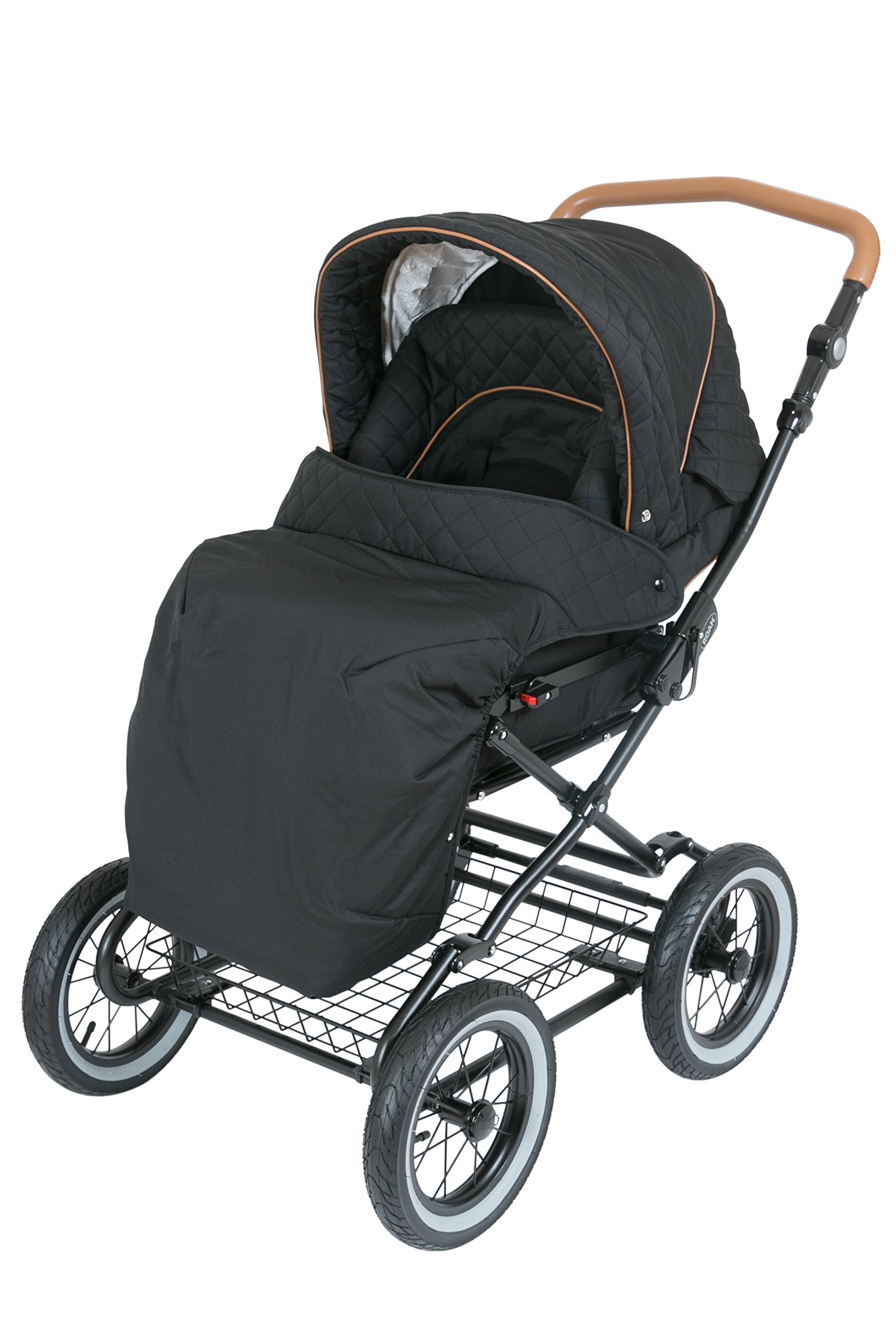 Luxury Roan Kortina 2-in-1 Pram Stroller Pushchair with Big Baby Bassinet and Toddler Reclining Seat with Five Point Safety System UV Proof Canopy and Storage Basket for child up to 3 year (graphite) by ROAN (Image #6)