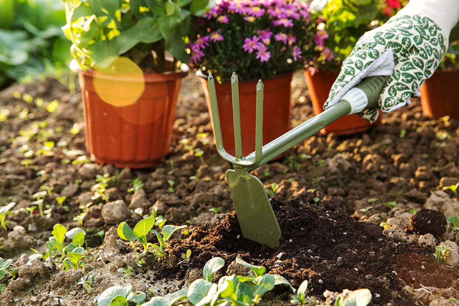 Homes Garden Bend-Proof Small Hand Fork 10.8 L x 3.15 W Carbon Steel Hand Tool Lightweight PVC Ergonomic Comfortable Grip Handle for Picking Up Leaves and Flowers Pulling Out Weeds #2018