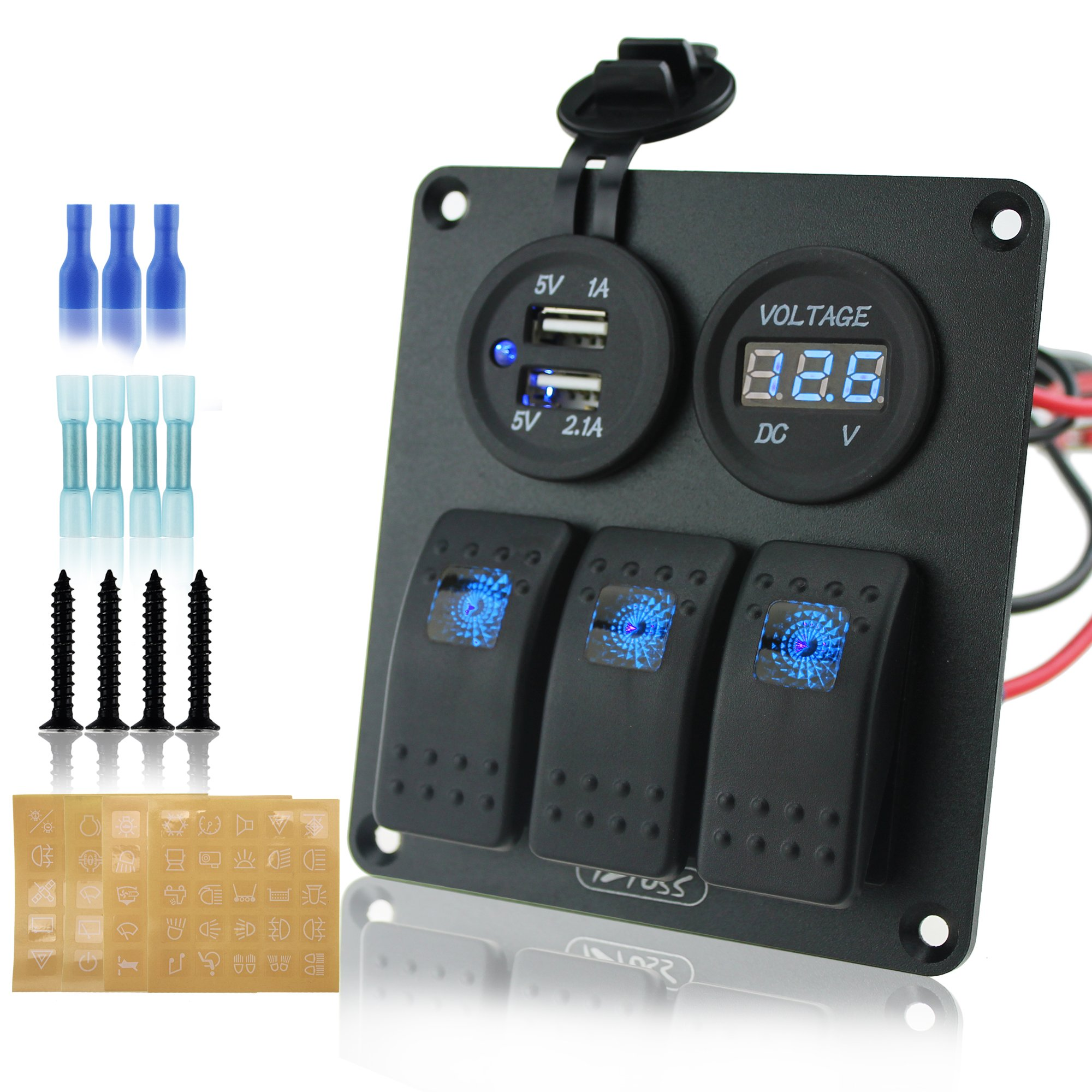 Ambuker 3 gang rocker switch panel with 3.1A dual USB wiring kits and voltmeter Decal Sticker Labels DC12V/24V for Marine Boat Car Rv Vehicles Truck by Ambuker