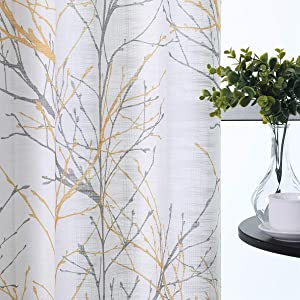 "Semi-Sheer Print Curtains 84-inch Long Living Room Yellow Grey Curtain Panels with White Linen Textured Grommet Tree Branches Window Treatment Set for Living Room Bedroom 50""W 2Panels"