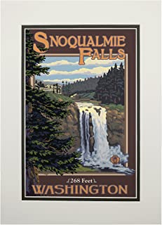 product image for Snoqualmie Falls, Washington - Day (11x14 Double-Matted Art Print, Wall Decor Ready to Frame)