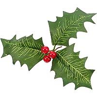 10 Pezzi Artificiale Agrifoglio Bacca Verde Foglie Rosso Bacche per Natale Disposizione Mestiere Matrimonio Festa Decorazioni