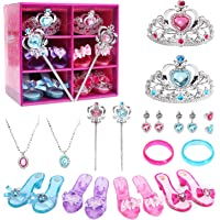 CUTE STONE Princess Dress Up Shoes and Jewelry Toys, Princess Accessories of Crowns, Necklaces, Bracelets, Rings, Beauty…