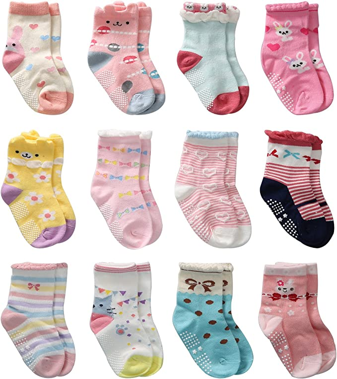 12 Pairs Cotton Toddler Socks with Grips New Baby Girls Socks Non Slip//Anti ..