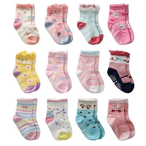 12 Pares de Calcetines Antideslizantes para Niñas Pequeñas Algodón Lindo con Puños, Calcetines Antideslizantes para Piñas Pequeñas