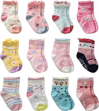 Cottock 12 Pares de Calcetines Antideslizantes para Niñas Pequeñas Algodón Lindo con Puños, Calcetines Antideslizantes para Piñas Pequeñas Diseños al Azar