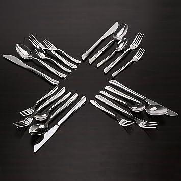 INTEY Stainless Steel Flatware Silverware Set, 20 Piece Mirror Polished  Utensils For Home,