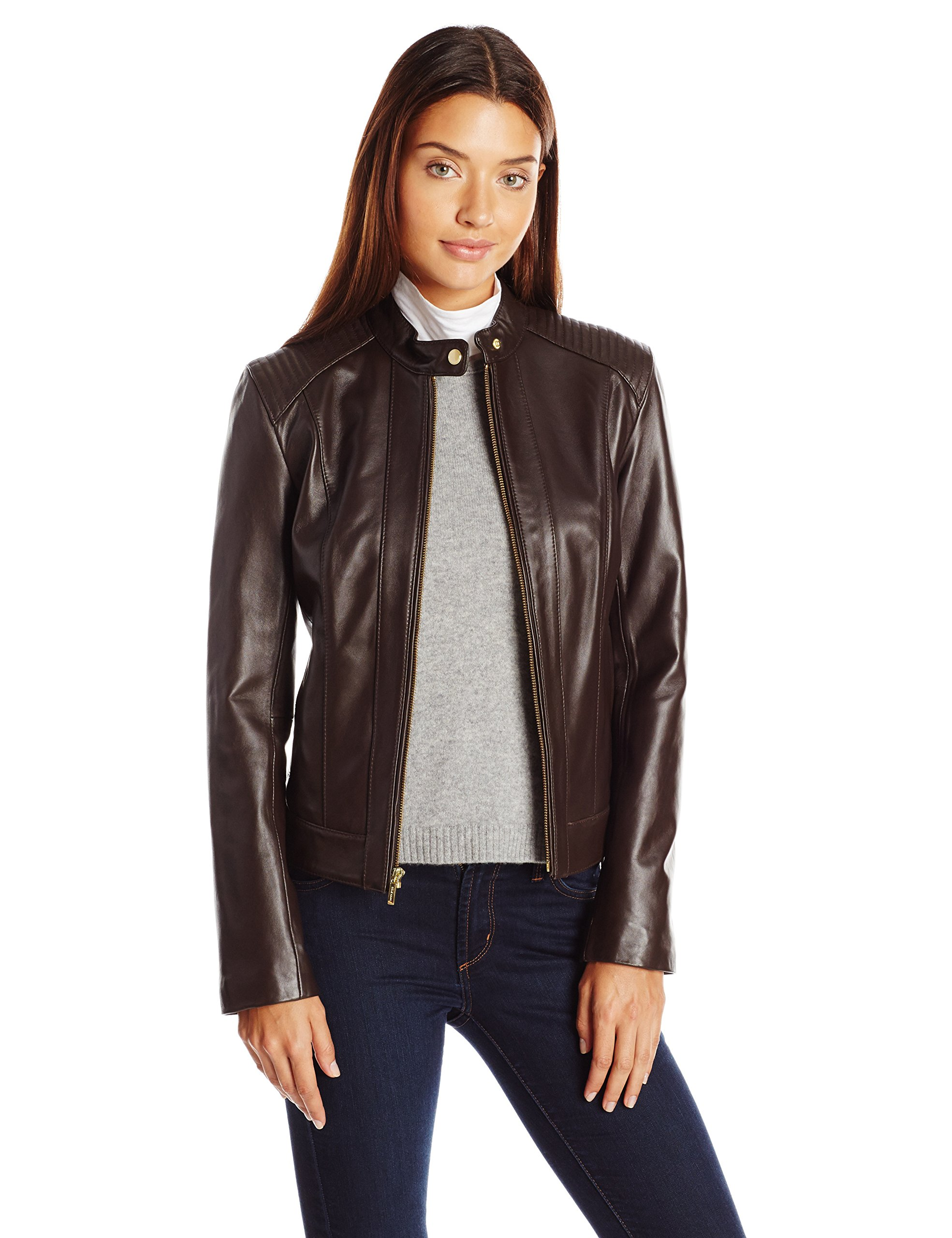 Cole Haan Women's Racer Jacket With Quilted Panels, Deep Espresso, Small