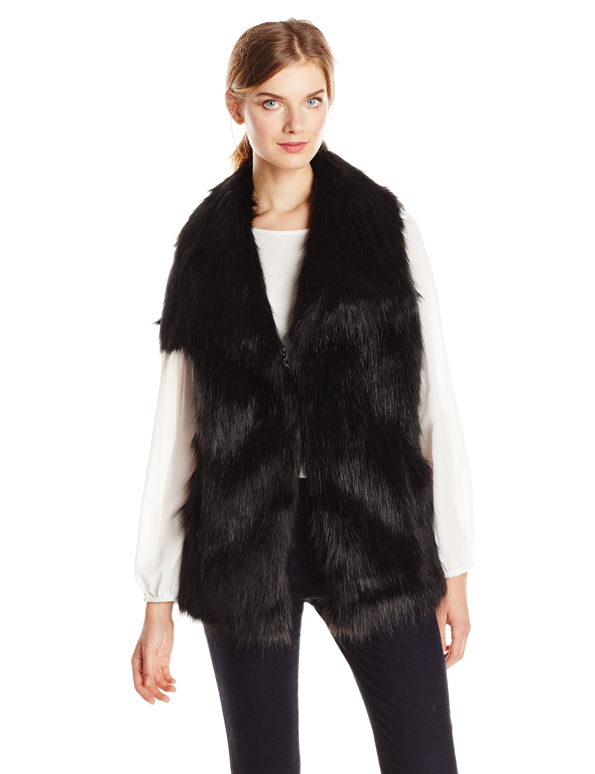 Via Spiga Women's Faux Fur Vest, Black, Small