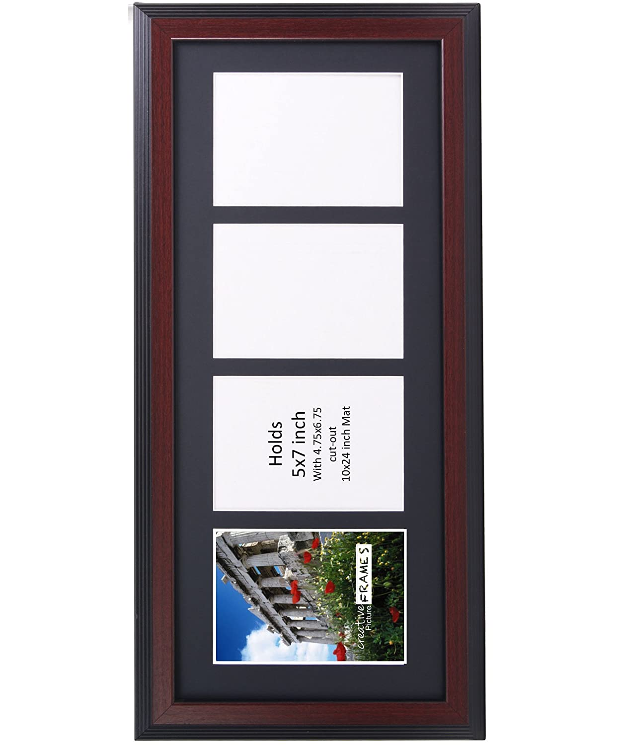 Creativepf 4 Opening Multi 5x7 Driftwood Picture Frame 10x24 Black