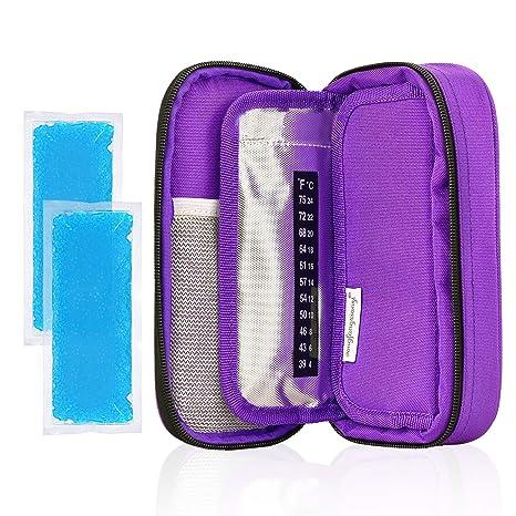 YOUSHARES insulina nevera viaje caso-medicación diabéticos aislado Organizador bolsa de refrigeración portátil para la pluma de insulina y suministros ...