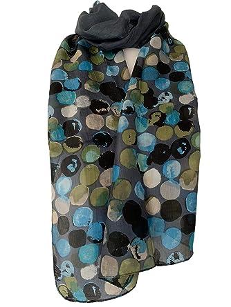 Polka Dot Scarf Light Blue White Dots Cotton Blend Ladies Wrap Fair Trade Spotty