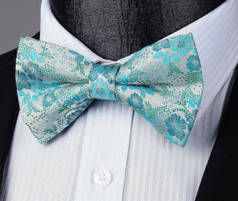 Enlision Floral Pre-tied Bow Tie Adjustable Mens Bowtie Jacquard Woven Party Handkerchief Pocket Square Set