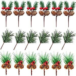 VVIP Artificial Christmas Pine Picks,18PCS Artificial Pine Branches with Red Berries, Artificial Pine Needles Bells Pine Cones for Christmas Decor DIY Crafts Gift Wrapping Flower Wreaths Floral Picks