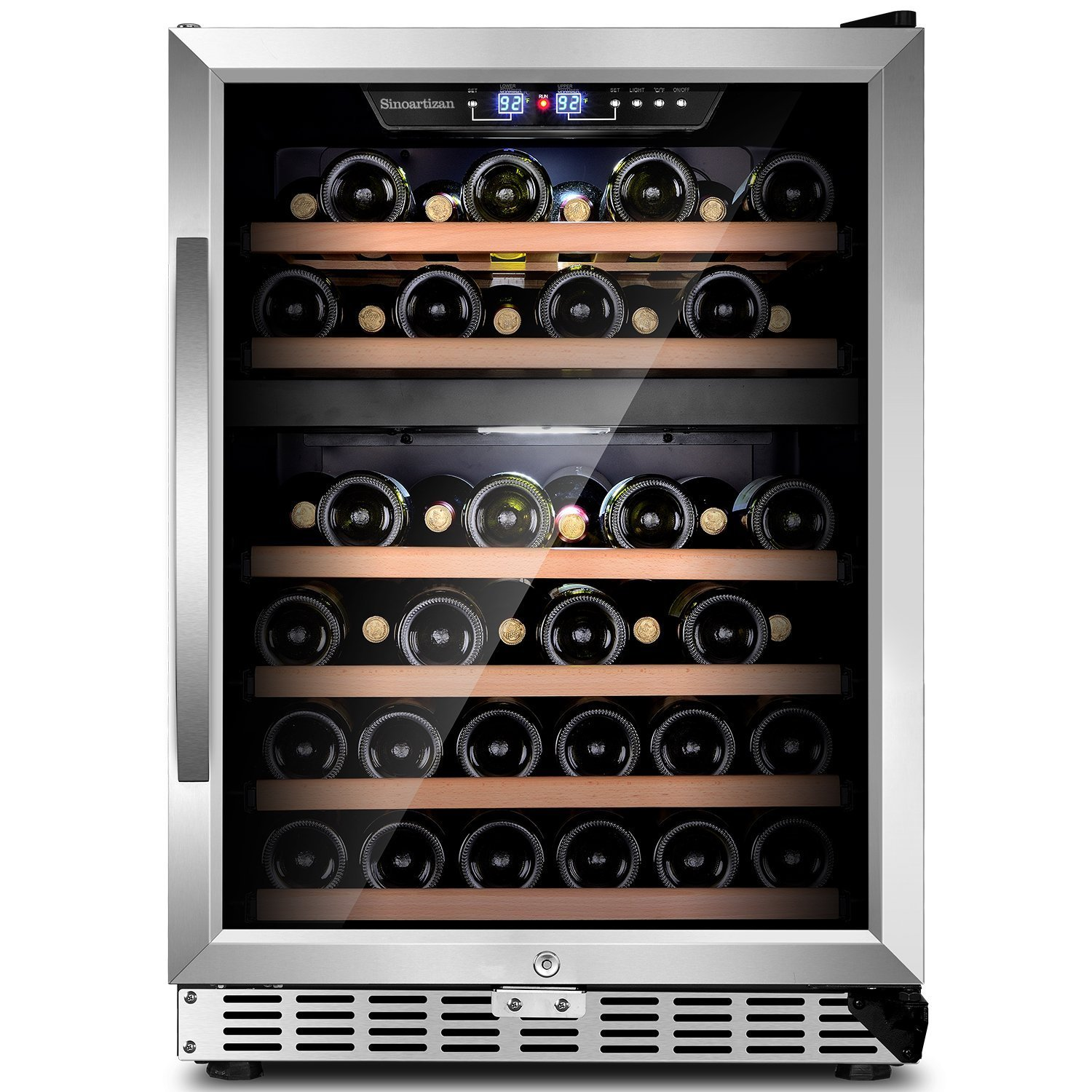 """Sinoartizan 24""""Compressor Wine cooler 44 bottles Dual zone ST-54D Built-in or Freestanding Wine refrigerator with Stainless Steel Double-Layer Tempered Glass Door and Temperature Memory Function"""