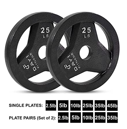 Cast Iron Olympic 2-Inch Grip Plate by D1F for Barbell, 6 weights Available 2.5 to 45lbs Plates for Weightlifting, Crossfit – 2 Weight Plate for Bodybuilding – Singles or Pairs
