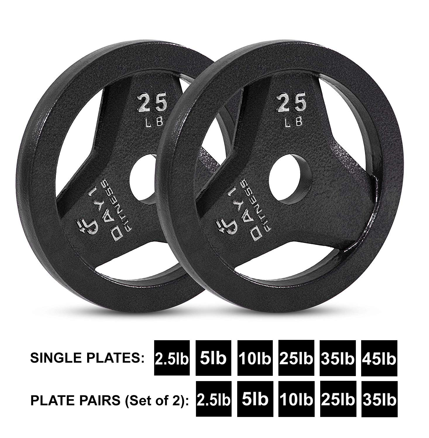 "Day 1 Fitness Cast Iron Olympic 2-Inch Grip Plate for Barbell, 25 Pound Set of 2 Plates Iron Grip Plates for Weightlifting, Crossfit - 2"" Weight Plate for Bodybuilding by Day 1 Fitness (Image #1)"