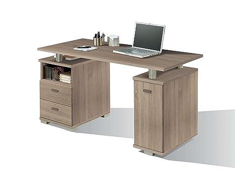Escritorio mesa de ordenador multimedia color cambrian con cajones laterales, guías metálicas y tapa gruesa 22MM para oficina, despacho o estudio. ...