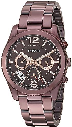 Fossil Womens Perfect Boyfriend ES4110 Brown Stainless-Steel Analog Quartz Dress Watch