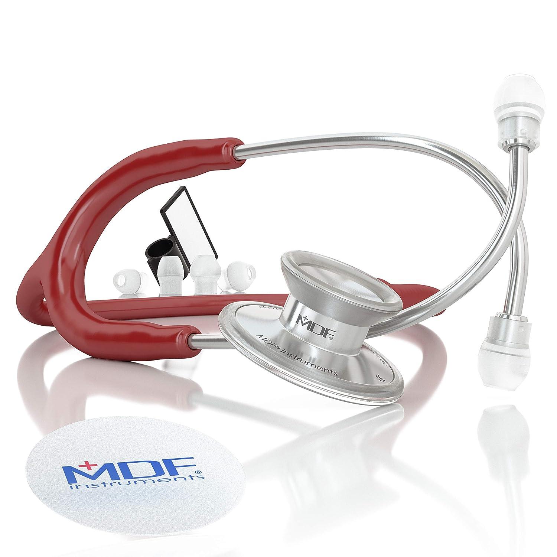 MDF Instruments Acoustica Deluxe MDF747XP17, Estetoscopio ligero de doble cabeza, Borgoña (Burgundy)