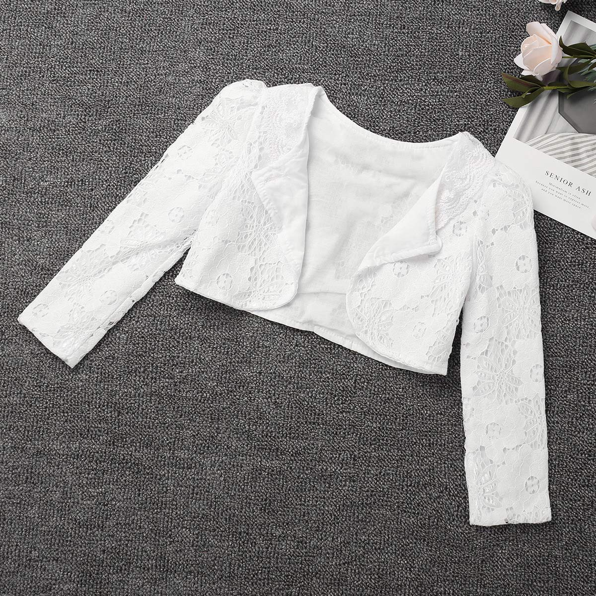 dPois Kids Girls Floral Lace Long Sleeve Bolero Cardigan Shrug Flower Girl Princess Dress Short Knitted Sweater