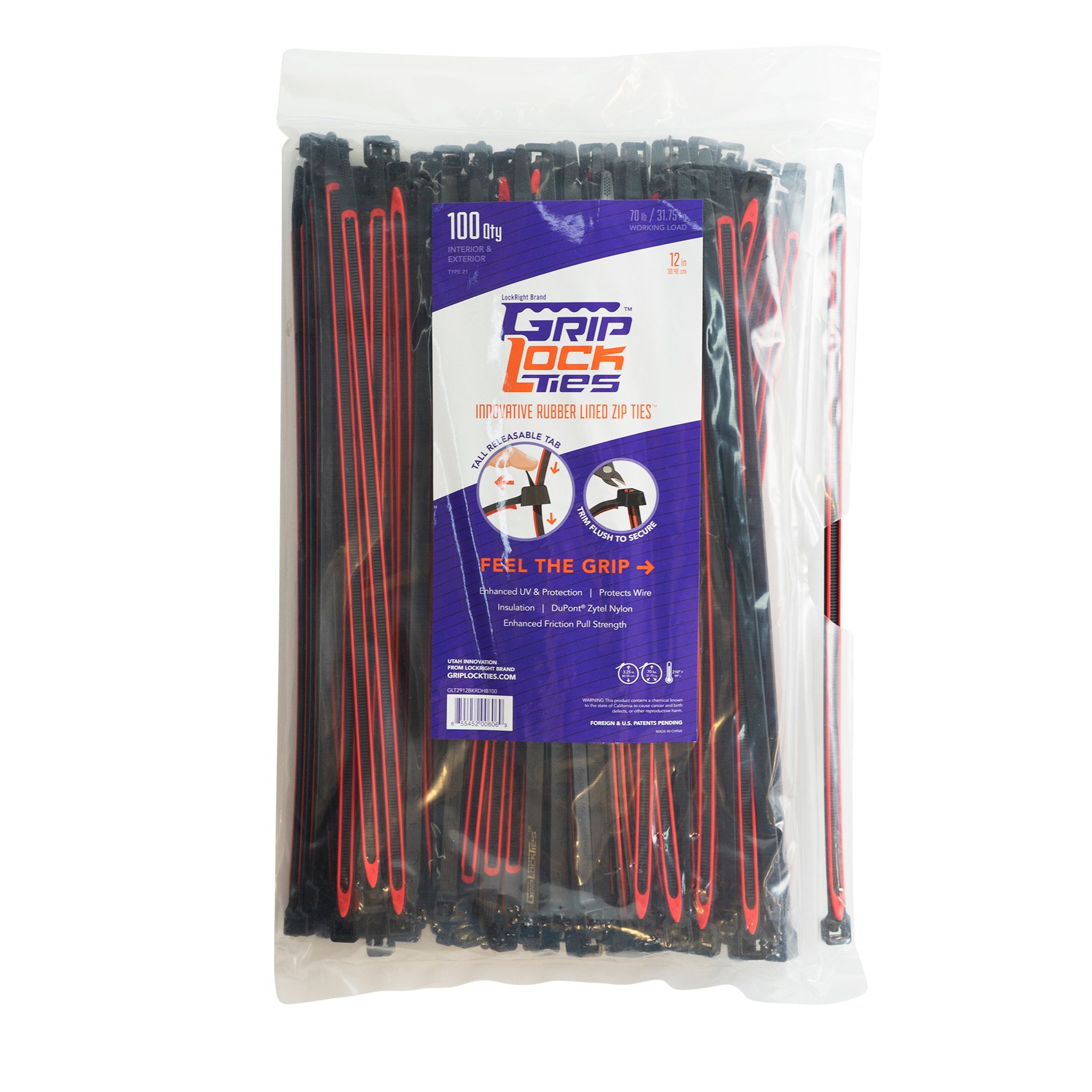 GRIPLOCKTIES, Releasable, Re-Usable, Zip Ties, Industrial Grade, Extra Grip, Rubber Lined, Durable, 12 Inches Long (100, Red)