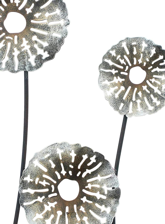 Wanddeko Wandverzierung 30x50 cm 3D Wandbild Blumen aus Metall Wandschmuck Deko-Objekt