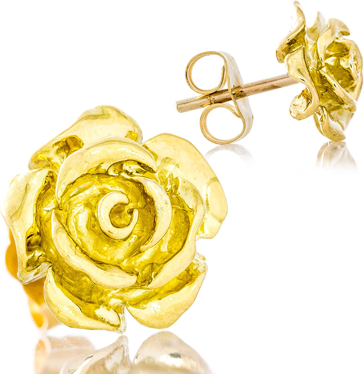 Solid 18K Yellow Gold Rose Flower Stud Earrings Handcrafted style 3/8 inch with Post and Friction Back   2.8g