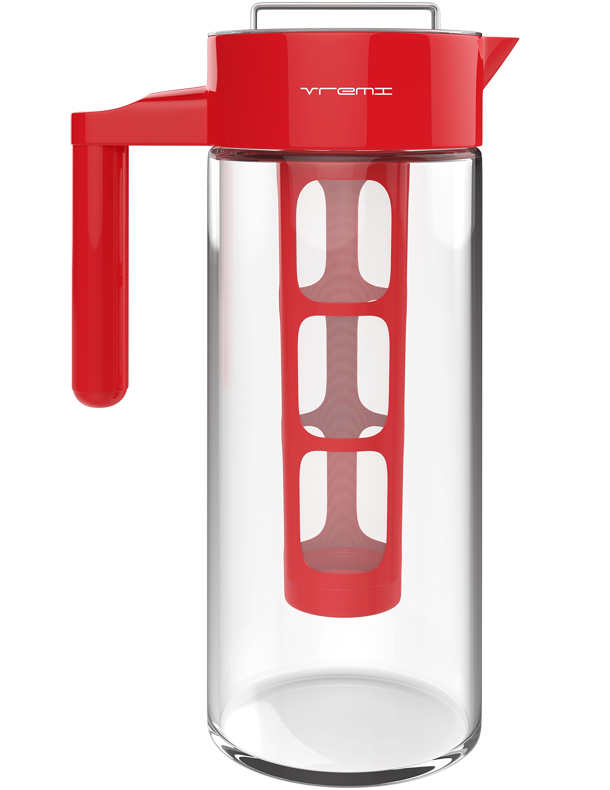 Vremi Cold Brew Iced Coffee Maker and Tea Infuser - 32 Ounce 1 Quart Glass Carafe Pitcher Airtight Lid and Spout - BPA Free Reusable Mesh Filter for Ground Coffee Loose Tea - Dishwasher Safe - Red by Vremi