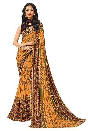 d7173ce146 Laxmipati Nuriya Printed Saree (Turmeric): Amazon.in: Clothing & Accessories
