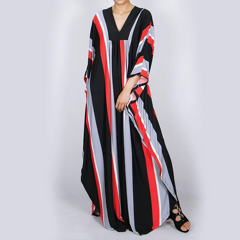 Women Butterfly Kaftan Plus Size Maxi Dresses Multi Color
