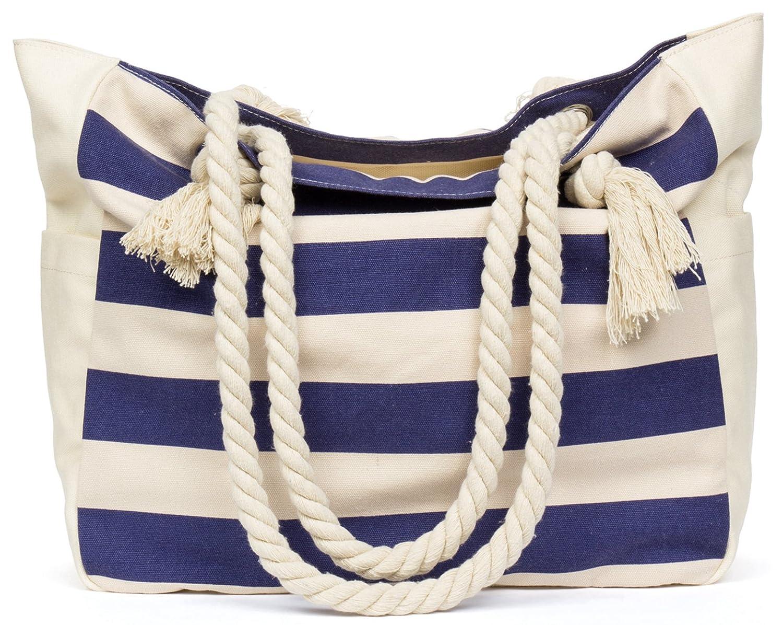 Malirona Women's Canvas Shoulder Bag Beach Bag Rope Handle Handbag Cotton Everyday Purse Casual Bag SD026B SD026B-Deep Blue