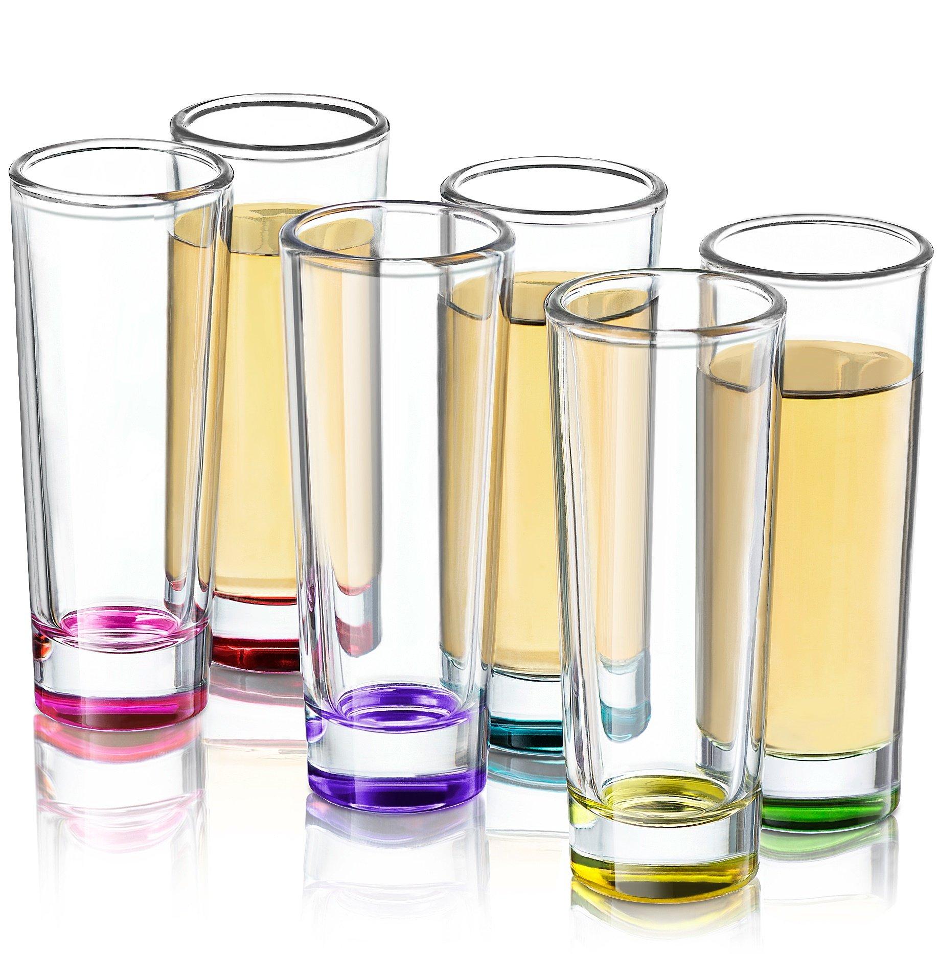 JoyJolt Hue Colored Shot glass Set, 6 Piece Shot Glasses