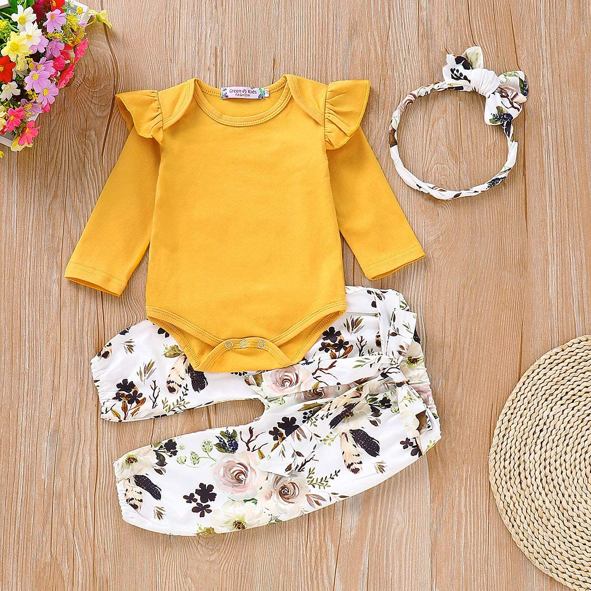 Newborn Toddler Baby Girl Kids Long Sleeve Ruffle Flower Romper Bodysuit Clothes