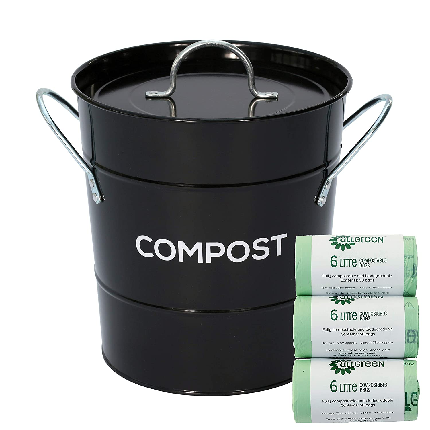Black Metal Kitchen Compost Caddy & 150x 6L All-Green Biobags - Composting Bin for Food Waste Recycling The Caddy Company