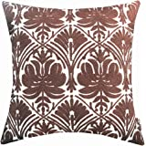 SLOW COW Cotton Embroidery Decorative Throw Pillow Cover Brown Invisible Zipper Cushion Cover 18x18 Inches
