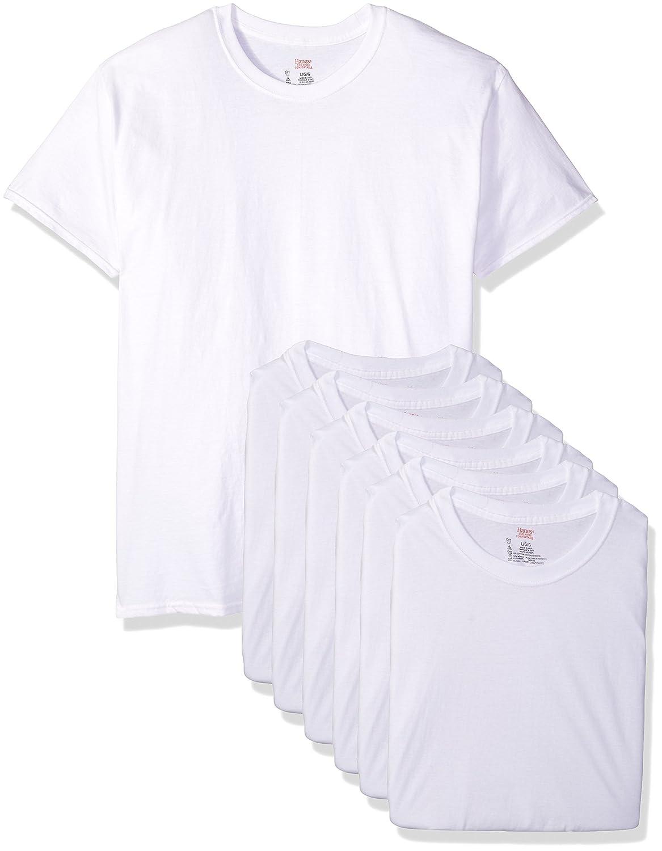 Blanc L Hanes 7870w6 Lot de 6 t-Shirts col Rond pour Homme