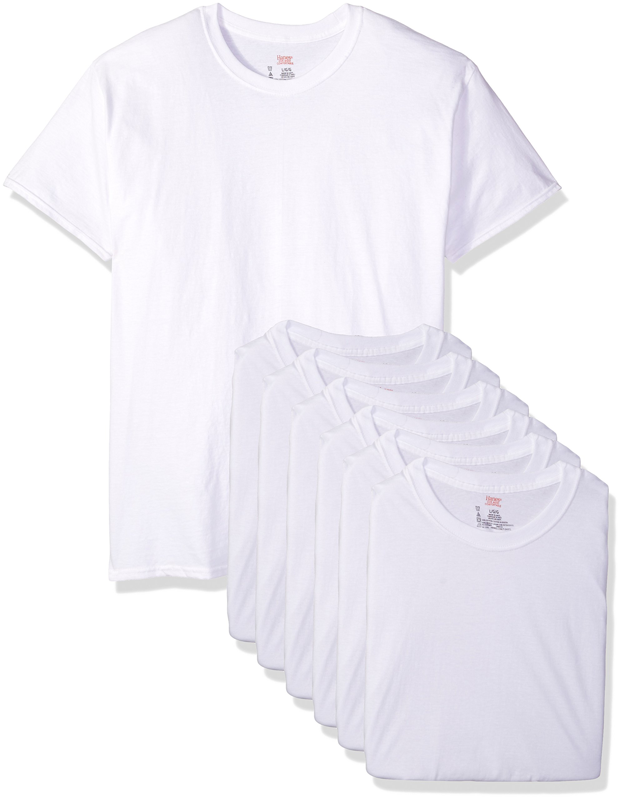 Hanes Ultimate Men's 6-Pack Crew Neck Tee, White, Large