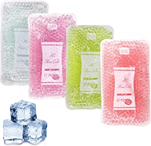 Reusable Gel Ice Packs,Reusable Freezer Packs to Keep Food Cool, Ice Pack for Kids Injuries, Breastfeeding, Wisdom Teeth, First Aid,Pain Relief,Kids Fever,Headaches(4 Packs)