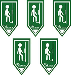 """NO Touch """"USE Foot"""" Vinyl Door Sticker - Hands Free Door Opener, Foot Operated Door Opener for Office, Schools, and Bathrooms (5PACK)"""