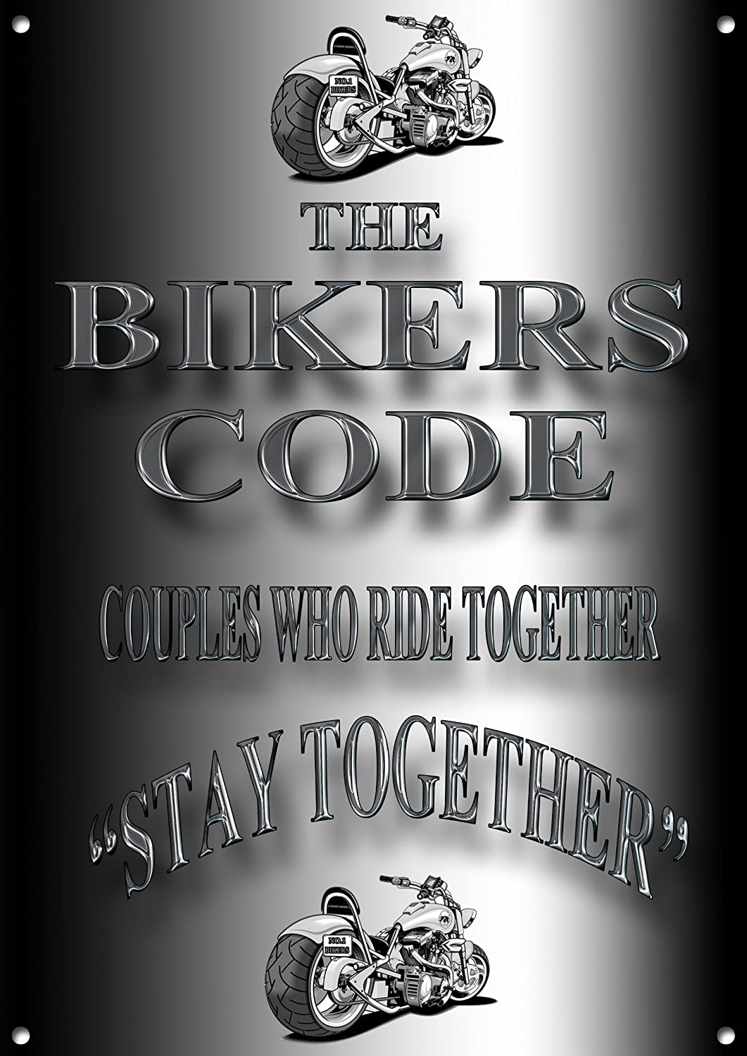 Bikers Code Metal SignCouples Who Ride Together,Stay Together