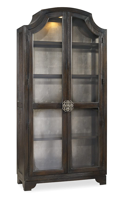 Hooker Furniture Sanctuary Glass Bunching Curio in Ebony Antiqued Oak 3031-50001