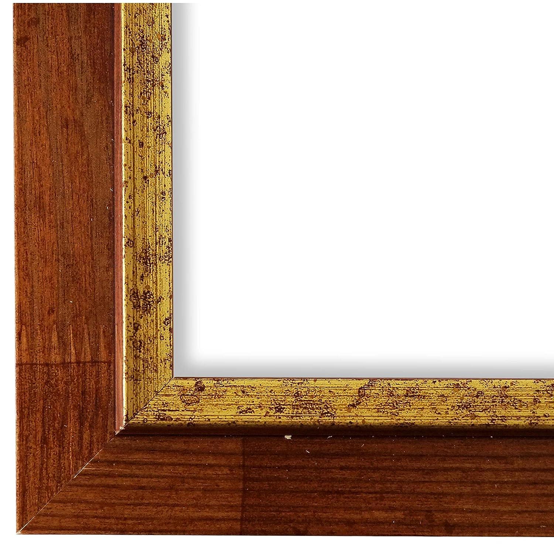 Online Galerie Bingold Bilderrahmen Braun Gold 70x90-70 x 90 cm - Modern, Shabby, Vintage - Alle Größen - Handgefertigt in Deutschland - LR - Catanzaro 3,9