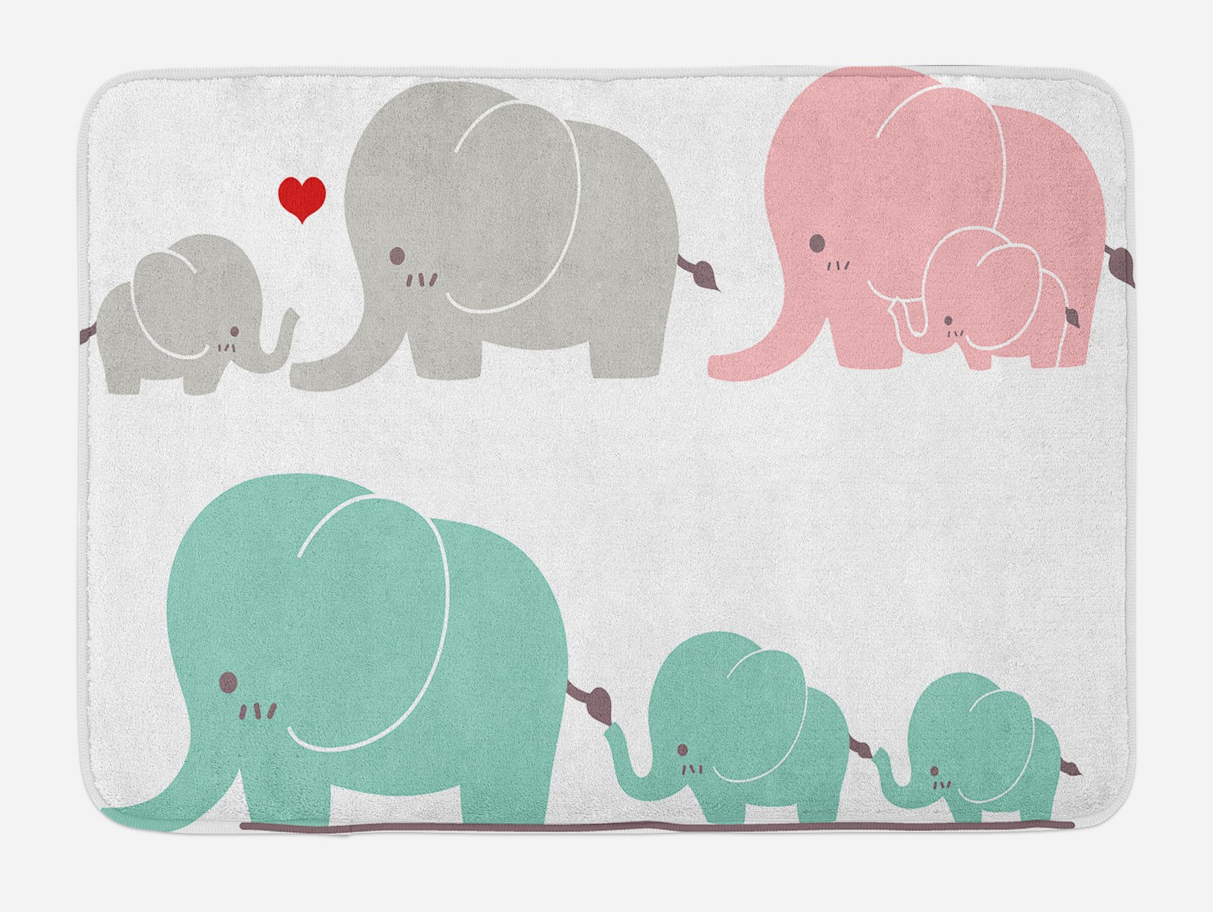 Ambesonne Nursery Bath Mat, Family Love Theme Cute Sweet Elephants Mother's Day Theme Baby Children, Plush Bathroom Decor Mat with Non Slip Backing, 29.5 W X 17.5 W Inches, Seafoam Pale Pink Gray