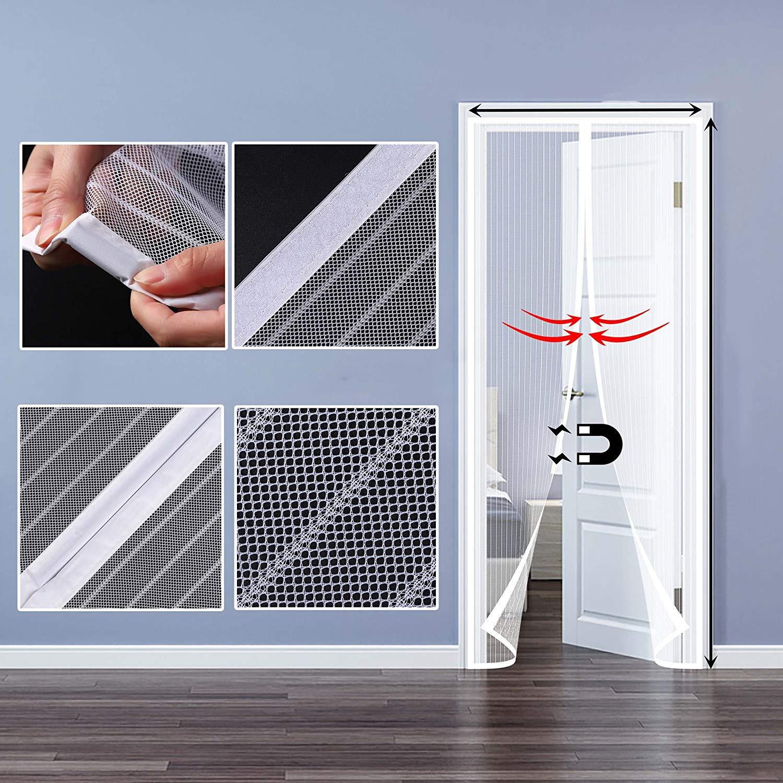 Mosquitera Puertas Bueno para Ni/ños y Perros 27x70inch Apagar Autom/áticamente Circulacion de Aire SODKK Mosquitera Puerta Magnetica Blanco 70x180cm