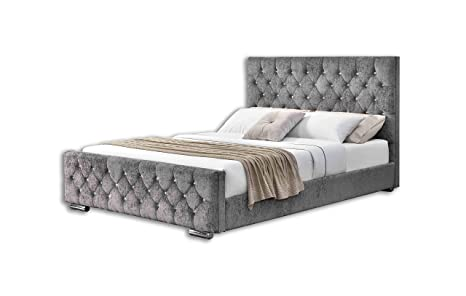 size 40 a710d c7741 Home Detail Crushed Velvet or Chenille Upholstered Bed Frame with Diamond  Design Headboard Available in Choice of Colours & Sizes (Double, Silver ...