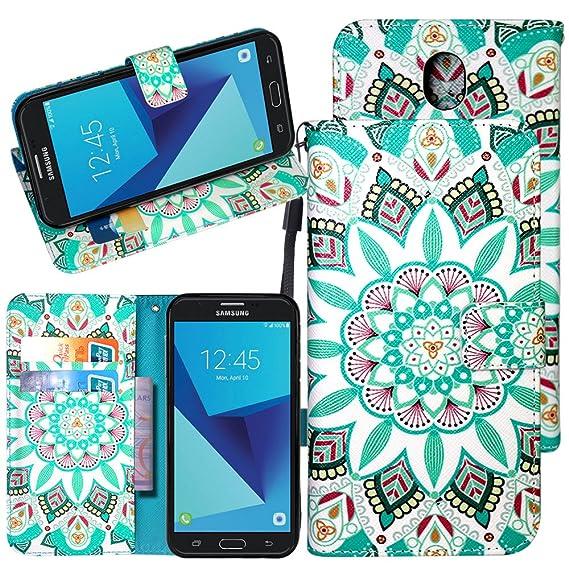 263f5358f04cf9 Galaxy J7 Pro Case, Harryshell Kickstand Wrist Strap PU Leather Flip Wallet  Case Protective Cover