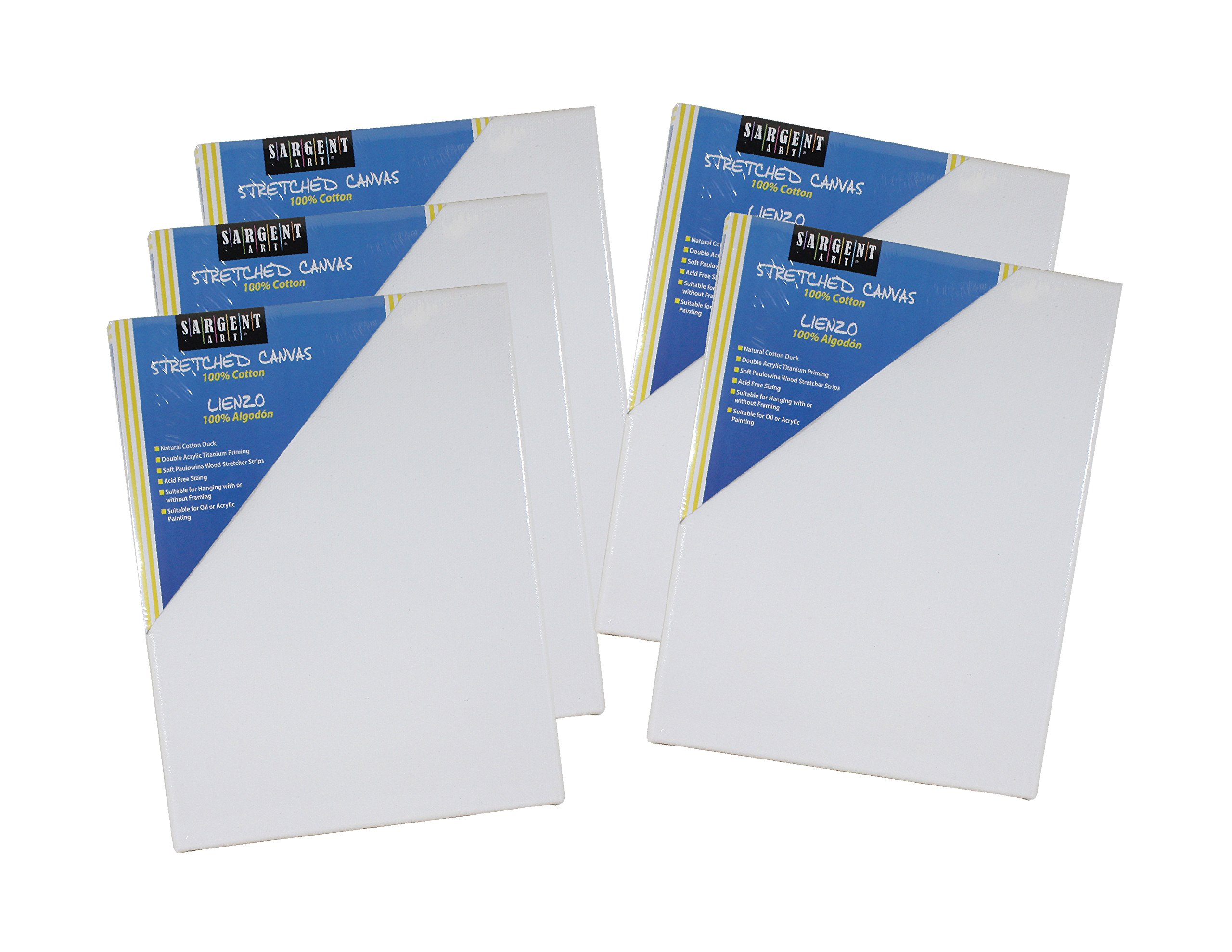 Sargent Art 16x20 inch Value Pack 16 x 20 Inch Stretched Canvas Pack of 5, 5 Piece by Sargent Art
