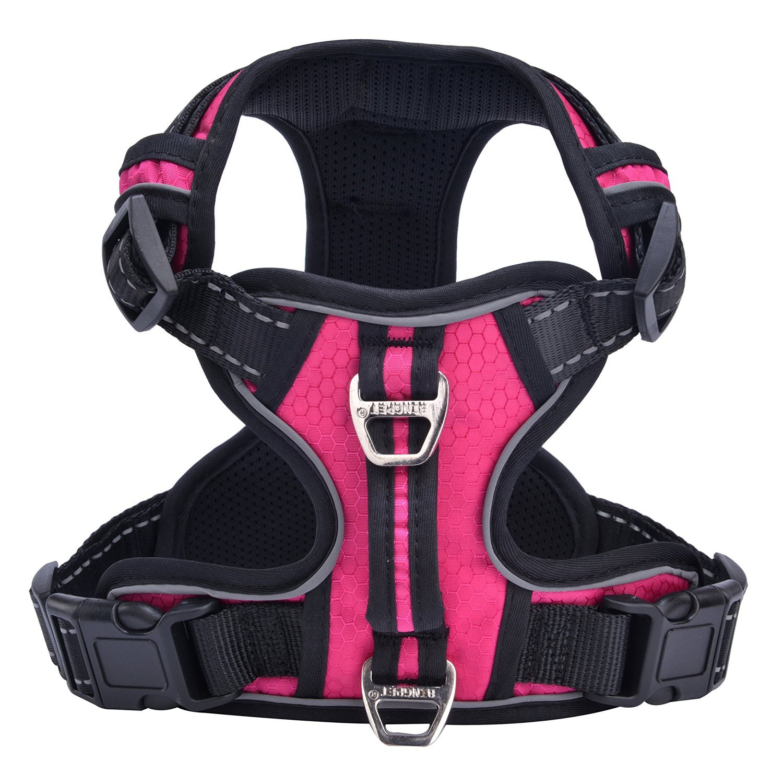 PUPTECK Best No-Pull Dog Harness with Vertical Handle,Calming Adjustable Reflective Outdoor Adventure Pet Vest,Pink L